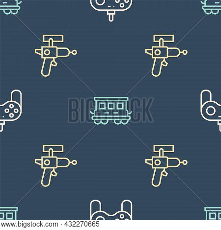 Set Line Gamepad, Ray Gun And Passenger Train Cars Toy On Seamless Pattern. Vector