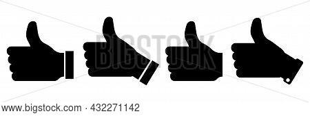 Black Left Thumbs Up Icon Set. Like Symbol. Hand Gesture. Social Media Like Button. Vector Illustrat