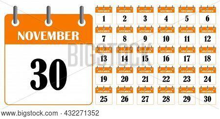Orange Calendar November. Calendar Template. Planner Diary. Business Organizer. Vector Illustration.
