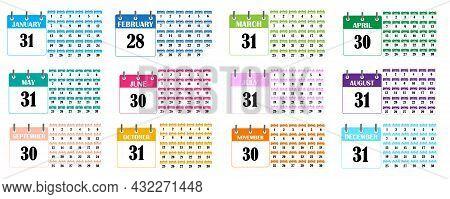 Color Calendar Icon. Planner Template. Planner Diary. Business Organizer Concept. Vector Illustratio