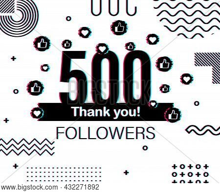 Thank You 500 000 Followers Numbers. Glitch Style Banner. Congratulating Multicolored Thanks Image F