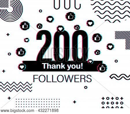 Thank You 200 000 Followers Numbers. Glitch Style Banner. Congratulating Multicolored Thanks Image F