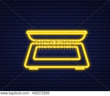 Weight Scale On White Background. Weighing Scales With Pan And Dial. Neon Style. Vector Stock Illust