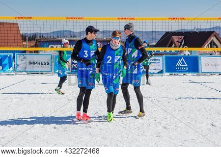 Sheregesh, Russian Federation - April 02, 2021: Russian Volleyball Championship In The Snow.