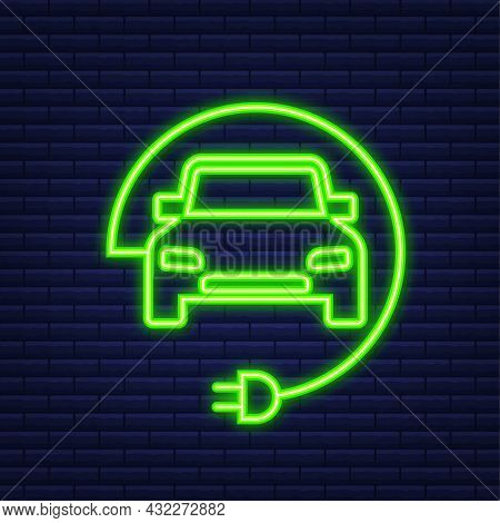 Electric Vehicle Charging Station Icon. Ev Charge. Electric Car. Neon Icon. Vector Illustration.