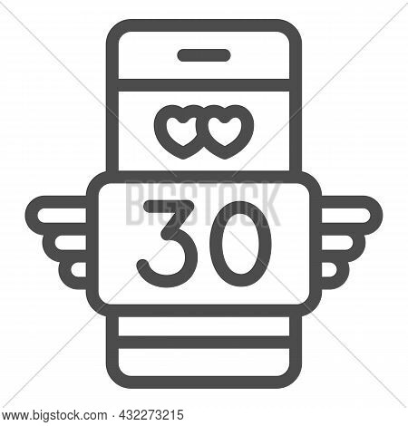 Winged Love Message 30 In Smartphone Line Icon, Love And Dating Concept, Text Thirty Vector Sign On