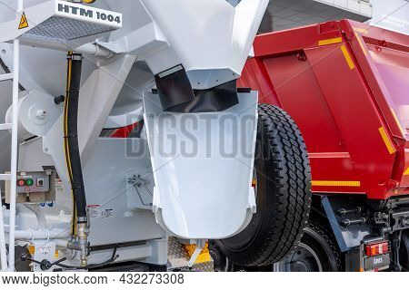 Concrete Mixer Truck Liebherr Htm 1004 And Heavy Dump Truck Based On The Mercedes-benz Arocs Chassis