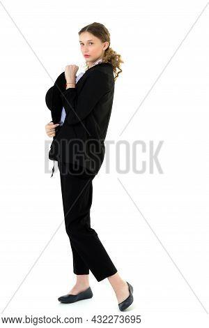 Beautiful Girl In Elegant Black Suit And Hat. Full Length Shot Of Charming Young Girl Wearing Elegan