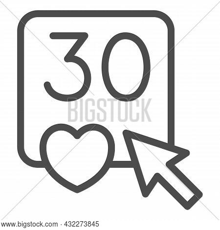 Click On Number 30 And Heart Line Icon, Dating And Relationship Concept, Love Thirty Vector Sign On