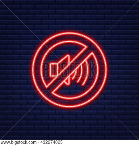 No Sound Phone. Neon Icon. Telephone Call. Cell Phone Icon. Vector Illustration.