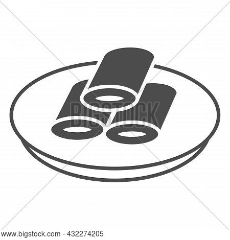 Pancakes With Filling Solid Icon, Asian Food Concept, Stuffed Pancakes On Plate Vector Sign On White
