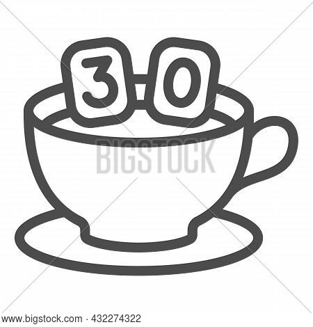 Cup Of Coffee On Saucer And Number 30 Line Icon, Anniversary Concept, Thirty In Mug Vector Sign On W