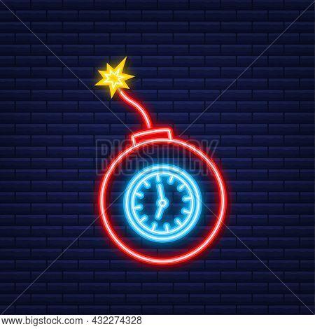 Cartoon Fire Flame. Flat Vector Icon. Damage Concept. Flat Bomb For Concept Design. Neon Icon. Vecto