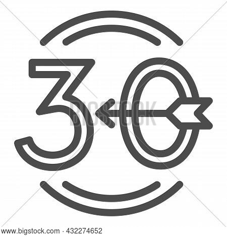 Arrow Number 30 And Circle Line Icon, Love And Relationship Concept, Emblem Thirty Vector Sign On Wh