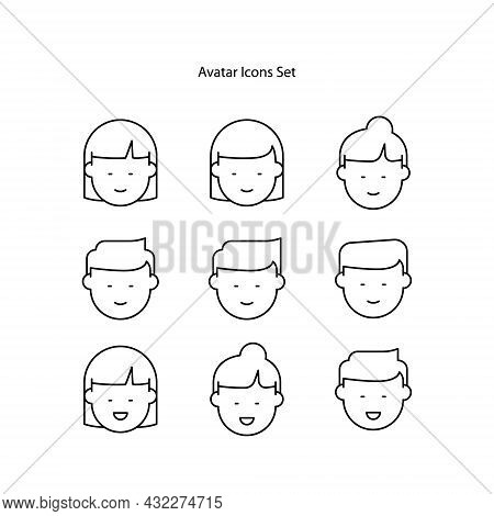 Avatar Icons Set Isolated On White Background. Avatar Icon Thin Line Outline Linear Avatar Symbol Fo
