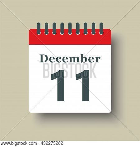 Icon Day Date 11 December, Template Calendar Page