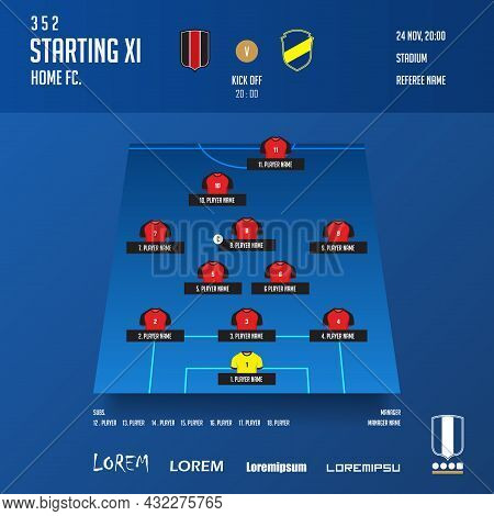 Football, Soccer Match Lineups Formation Infographic Template. Set Of Football Player Position On So