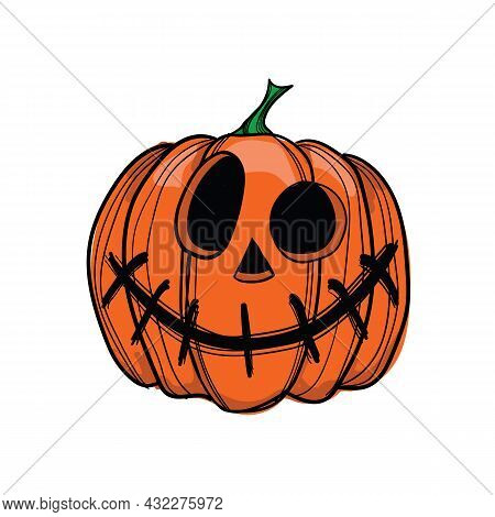 Vector Illustration Jack-o-lantern With Sewn Mouth, Can Be Used As Halloween Decoration