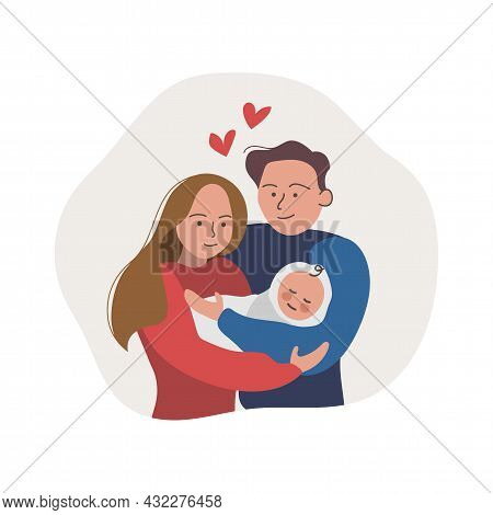 Cute Smiling Couple Embracing Their Newborn Baby. Happy Family And Baby Care Concept. Vector Illustr