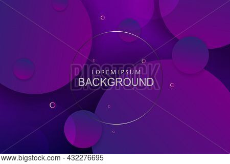 Dark Background Blue And Purple Gradient, Circles Set.