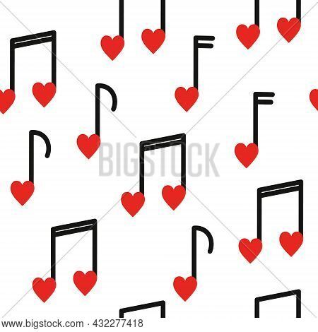 Seamless Pattern With Musical Notes Heart Shaped On White Background. Valentines Day, Romantic Music