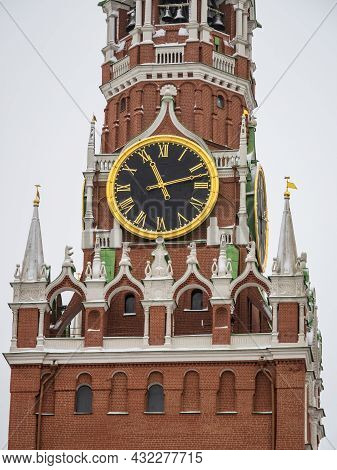 Spasskaya Tower Of Moscow Kremlin On Red Square, Russia