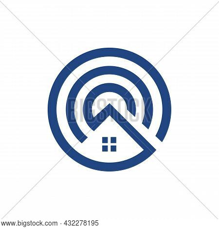 Residence Real Estate Home Circle Logo Icon Flat Vector Concept Graphic Simple Stylish Design