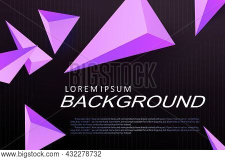 Black Illustration With Gradient, Purple Triangles With 3d Effect.