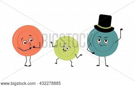 Family Of Cute Plates Character With Joyful Emotions, Face, Happy Eyes, Arms And Legs. Mom Is Happy,