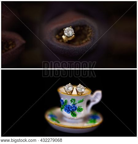 Collage Of Diamond Stud Earrings, One In A Gum Nut And The Pair In A Miniature Cup And Saucer