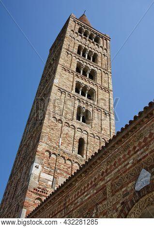 Romanesque Bell Tower Of Pomposa Abbey (abbazia Di Pomposa) Located In Codigoro, Ferrara. The Pompos