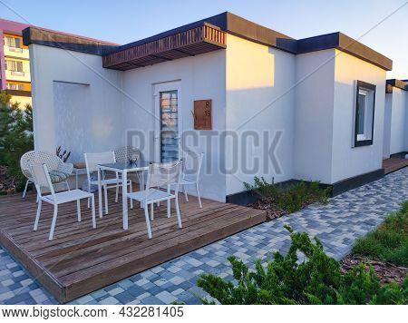 Koblevo, Ukraine - August 22, 2021: Hotel White Villas On The Black Sea
