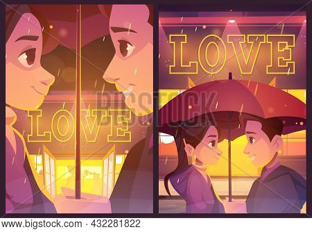 Love Posters With Happy Couple Under Umbrella On City Street In Rain. Vector Banners Of Romance And