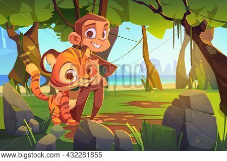 Cute Monkey And Tiger Stand Together In Jungle. Vector Cartoon Illustration Of Rainforest Landscape