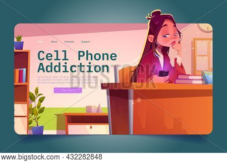 Sad Girl Looking At Mobile Phone. Concept Of Cell Phone Addiction, Fomo, Overuse Social Media. Vecto