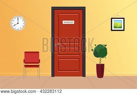 Office Door. Reception Area In Office With Red Chair And Door.