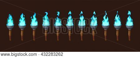 Burning Fire On Old Torch For Video Game. Vector Cartoon Animation Sprite Sheet With Sequence Of Mag