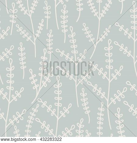 Seamless Pattern With Hand Drawn Botanical Elements Delicate Pastel Color.