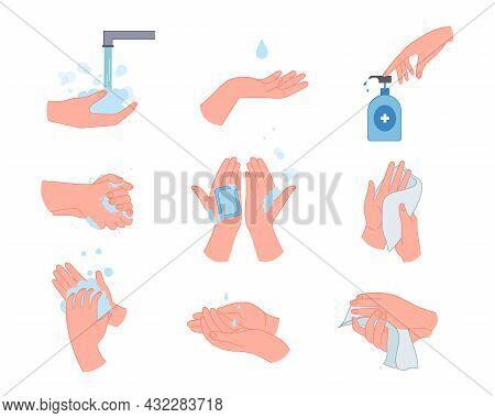 Medical Infographic With Hand Washing Vector Illustrations Set. Gestures Showing Steps Of Proper Dir