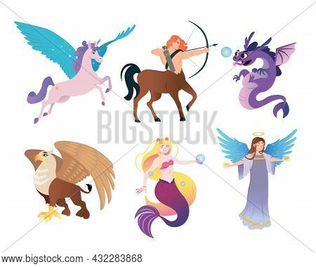 Ancient Greek Monsters Flat Vector Illustrations Set. Mythical Creature Characters, Centaur, Pegasus