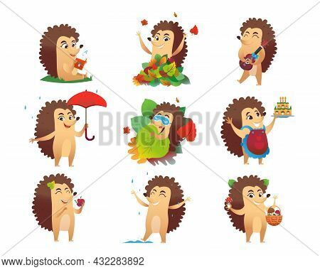 Cute Hedgehog Cartoon Character Vector Illustrations Set. Funny Wild Animal With Spikes Sleeping, Re