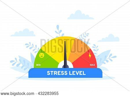 Stress Level Meter Flat Style Design Concept Vector Illustration. Emotion Overload, Burnout And Fati