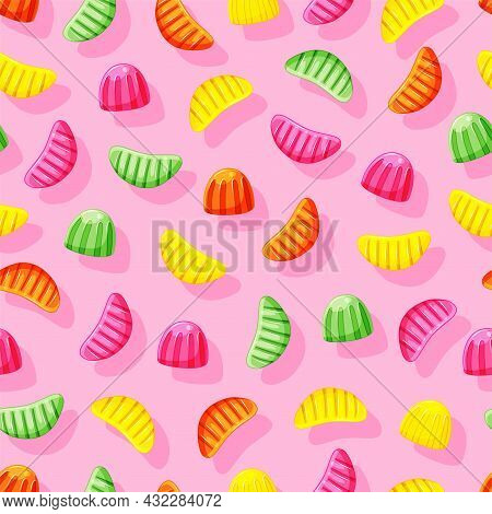 Multi-colored Jelly Slices Seamless Pattern. Healthy Fruit Sweets. Gummy Candy Vector Background.