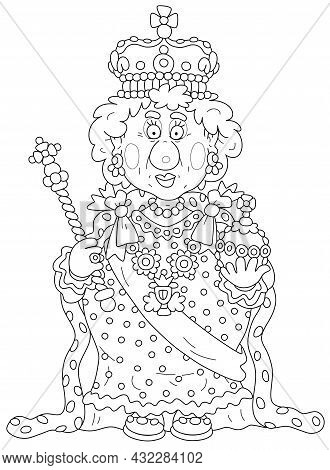 Queen In Solemn Royal Dress With Symbols Of Royalty At An Official Festive Ceremony, Black And White