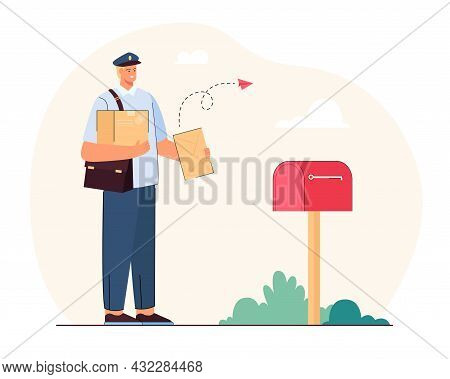 Postman Delivering Letters And Parcels. Flat Vector Illustration. Man In Uniform Standing At Mailbox