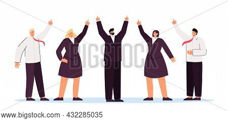Business Team And Executive Showing Upward Direction. Flat Vector Illustration. Group Of People In S