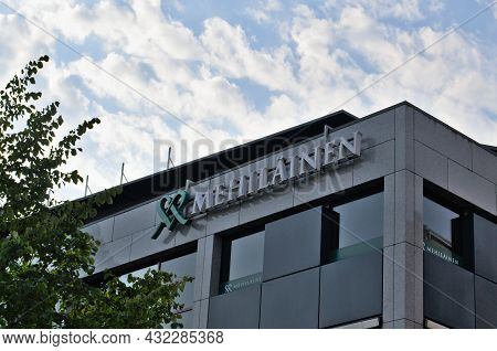 Turku, Finland - August 08, 2021: Sign Of The Medical Clinic Of Finland Mehilainen On The Building
