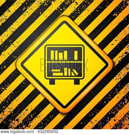 Black Shelf With Books Icon Isolated On Yellow Background. Shelves Sign. Warning Sign. Vector