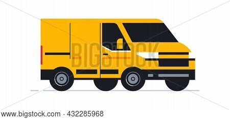 A Van For An Online Home Delivery Service. Transport For Delivery Of Orders. Van Front View In Half