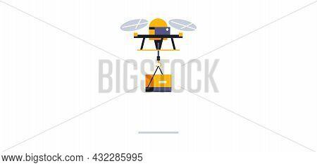 Flying Drone For Online Parcel Delivery Service. Transport For Delivering Parcels To Your Home. Futu